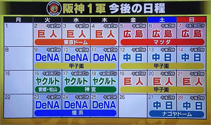 阪神タイガース今後の日程